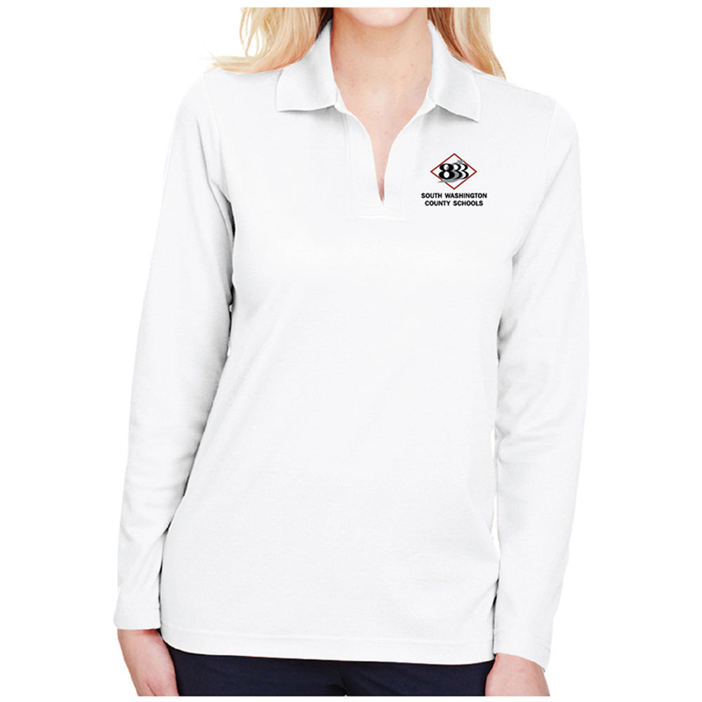 833 - Devon & Jones CrownLux Performance™ Ladies' Plaited Long Sleeve Polo-Ladies-Advanced Sportswear