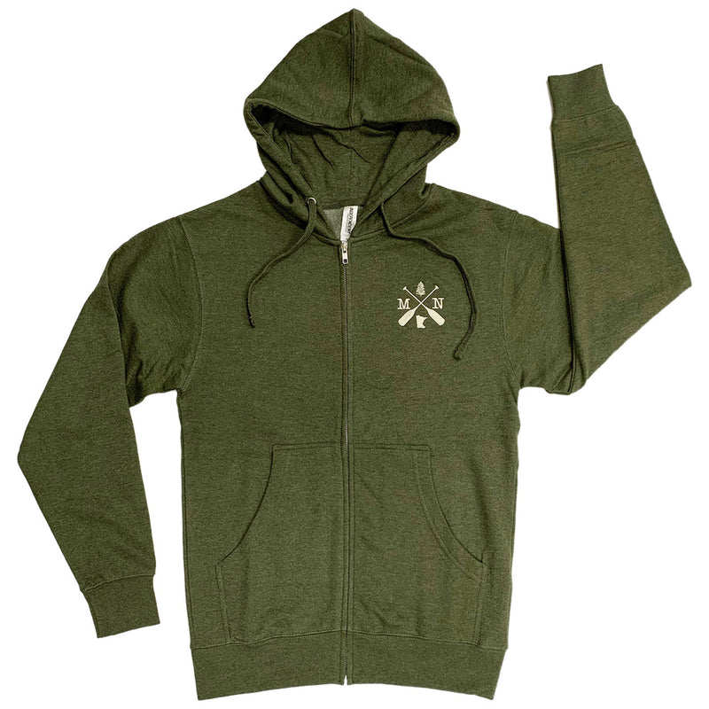 MN CROSSED OARS Independent Trading Co Midweight Full-Zip Hooded Sweatshirt