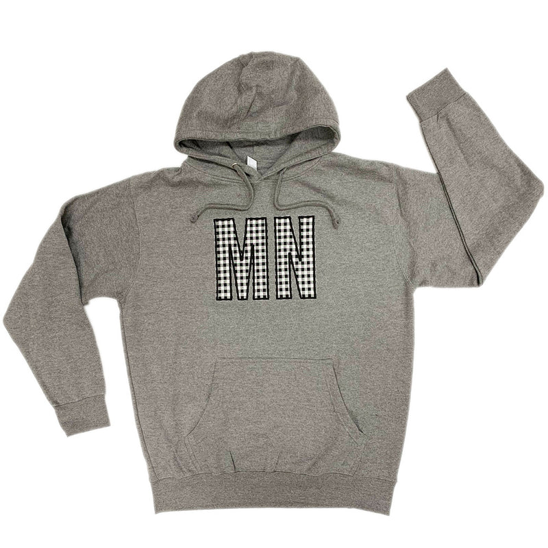 MN BLACK/WHITE BUFFALO CHECK HOODED SWEATSHIRT-Hoodies-Advanced Sportswear