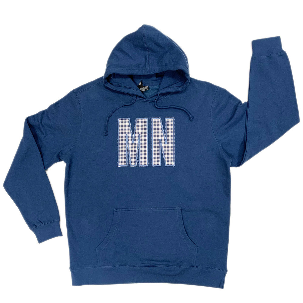 MN BLUE/WHITE BUFFALO CHECK HOODED SWEATSHIRT-Hoodies-Advanced Sportswear