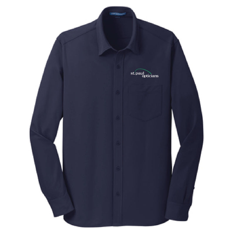 SP OPTICIANS - Port Authority® Dimension Knit Dress Shirt-Long Sleeve-Advanced Sportswear