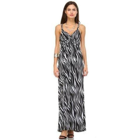 Womens Braided Strap Printed Maxi Dress Large / Black Optic White Dresses Truthbuys.com