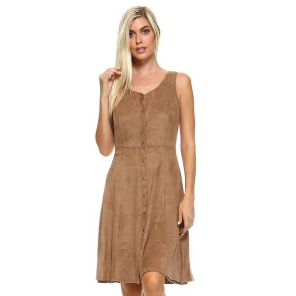 Womens Button Down Camel Suede Sleeveless Midi Dresses Truthbuys.com