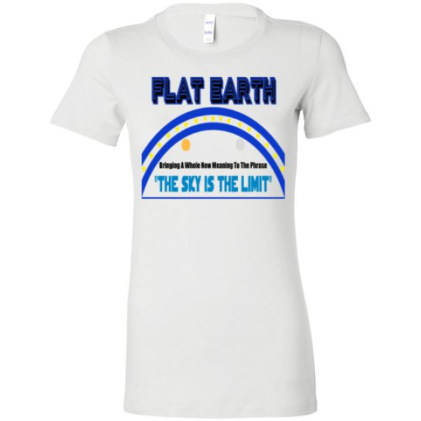 Womens Crew Favorite Tee: Flat Earth The Sky Is Limit (20 Colors Available) White / S Truth Tees Truthbuys.com