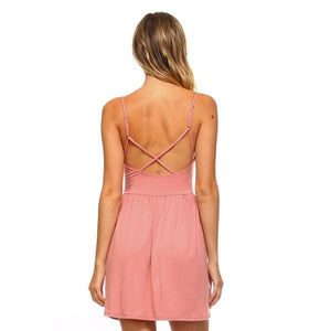 Womens Criss Cross Back Skater Dress - Black Grey Mauve Dresses Truthbuys.com