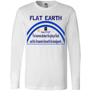 Youth Long Sleeve Tee: Flat Earth Psalms 19:1 White / S Truth Tees Truthbuys.com