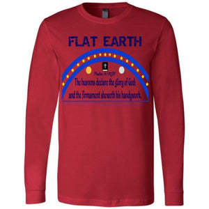 Youth Long Sleeve Tee: Flat Earth Psalms 19:1 Red / S Truth Tees Truthbuys.com