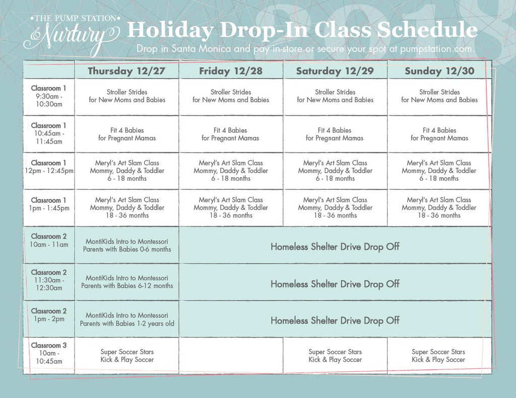 Holiday Drop In Schedule