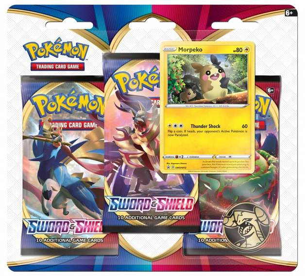 Sword and Shield Three Booster Blister- Morepeko | Spellbound Games