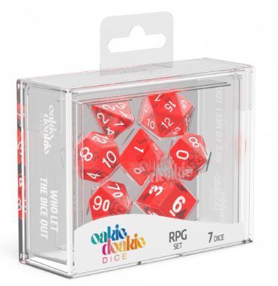 Oakie Doakie Dice Translucent - RPG Set Red (7) | Spellbound Games