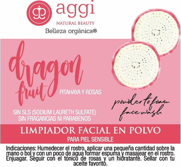 DRAGON FRUIT y ROSAS limpiador facial en polvo