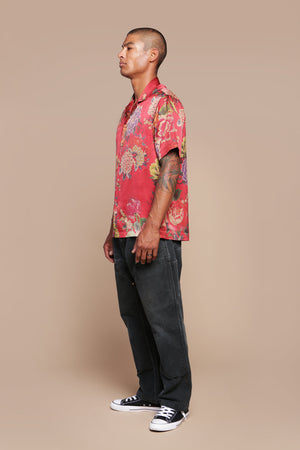 Red Floral Camp Collar Shirt
