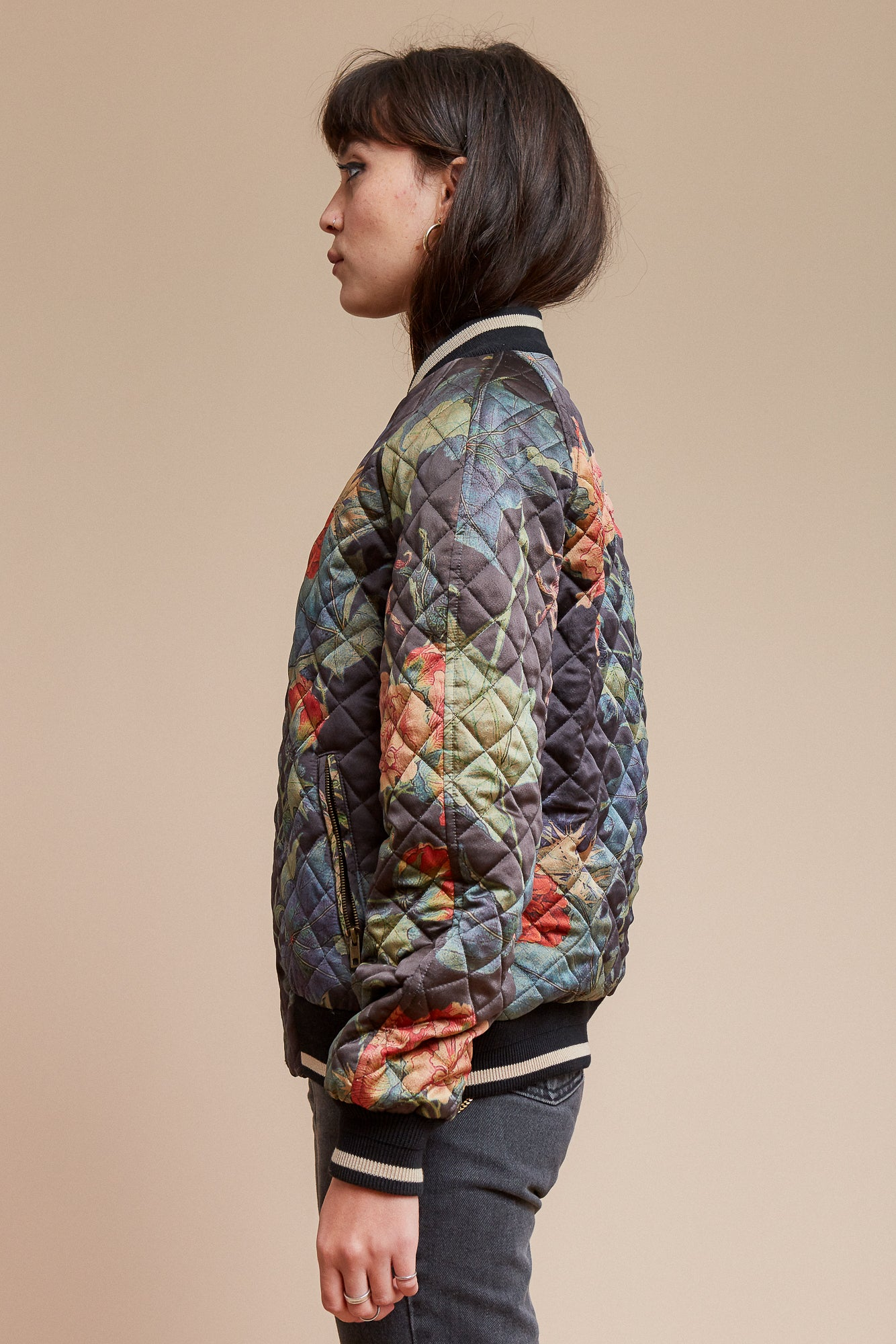 Quilted Ivy and Green Waffle Reversible Bomber Jacket