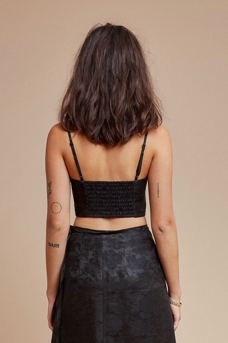 Black Roses Spaghetti Crop Top