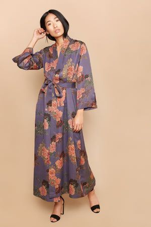 Blue Flowers Long Robe