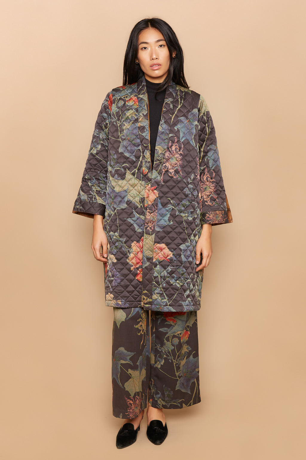Quilted Ivy and Marigold Reversible Coat