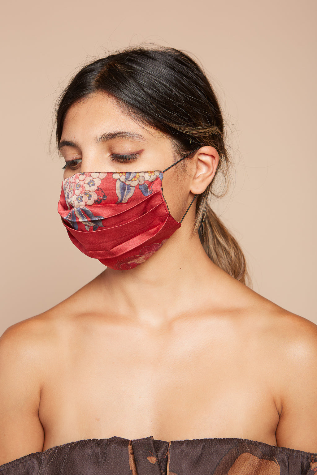 Red Floral Reversible Facemask