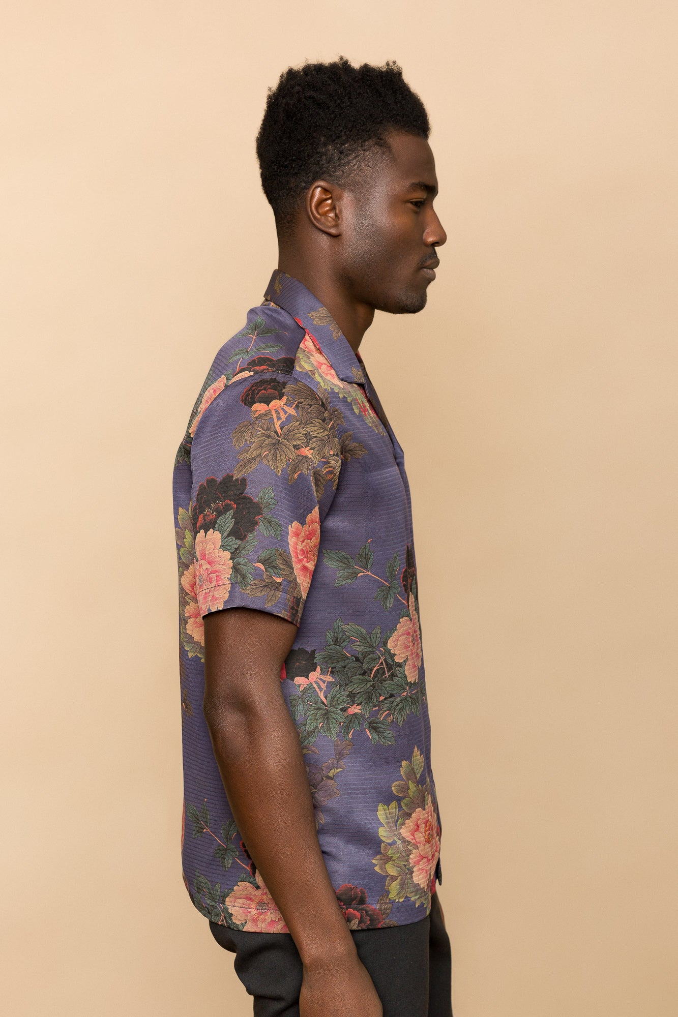 Blue Flowers Camp Collar Shirt