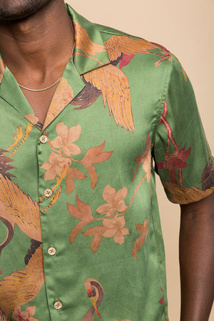 Verdant Crane Camp Collar Shirt