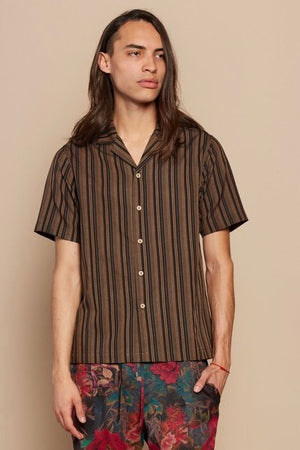 Brown Stripe Camp Collar Shirt