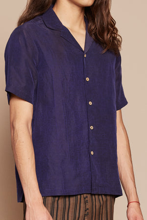 Navy Camp Collar Shirt