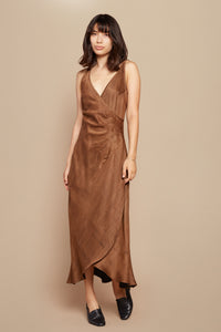 Brown Sugar Ruched Slip Dress