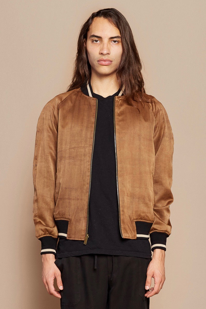 Brown Stripe and Brown Sugar Reversible Bomber Jacket