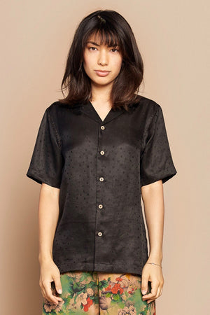 Black Polka Dot Camp Collar Shirt