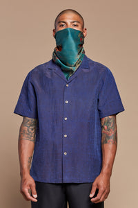Navy Turtle Camp Collar Shirt