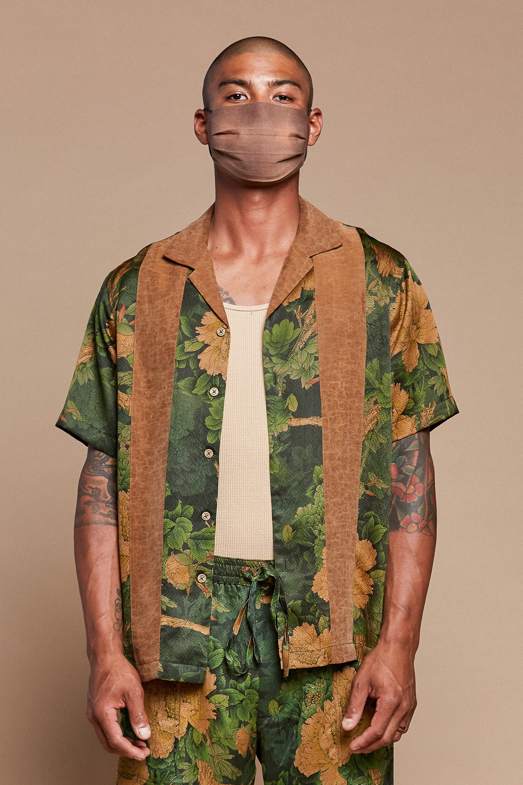 Striped Jungle Camp Collar Shirt