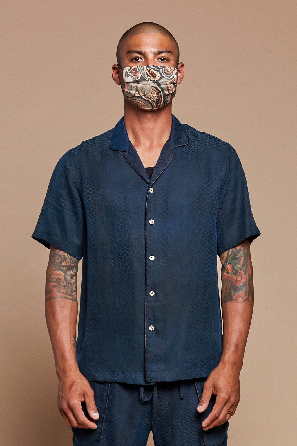 Blue Snake Camp Collar Shirt