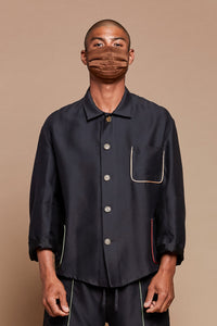 Black Organic Cotton/Silk Piped Chore Overshirt