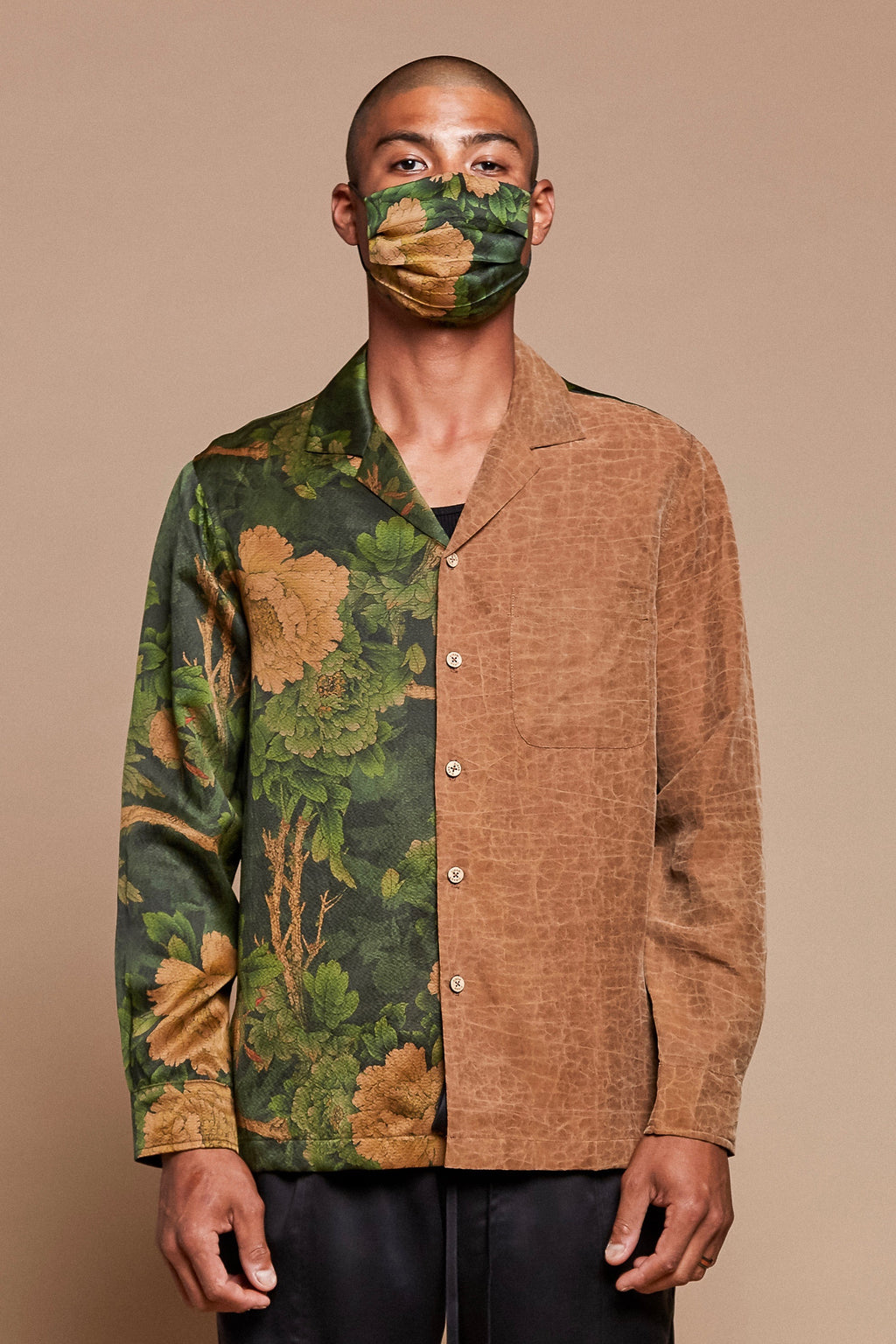 Jungle Half + Half Long Sleeve Camp Collar