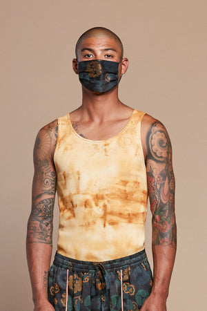 Rust Dyed Organic Hemp/Cotton Waffle Undershirt