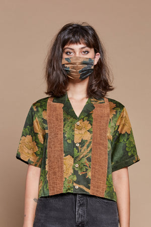 Striped Jungle Cropped Camp Collar Shirt