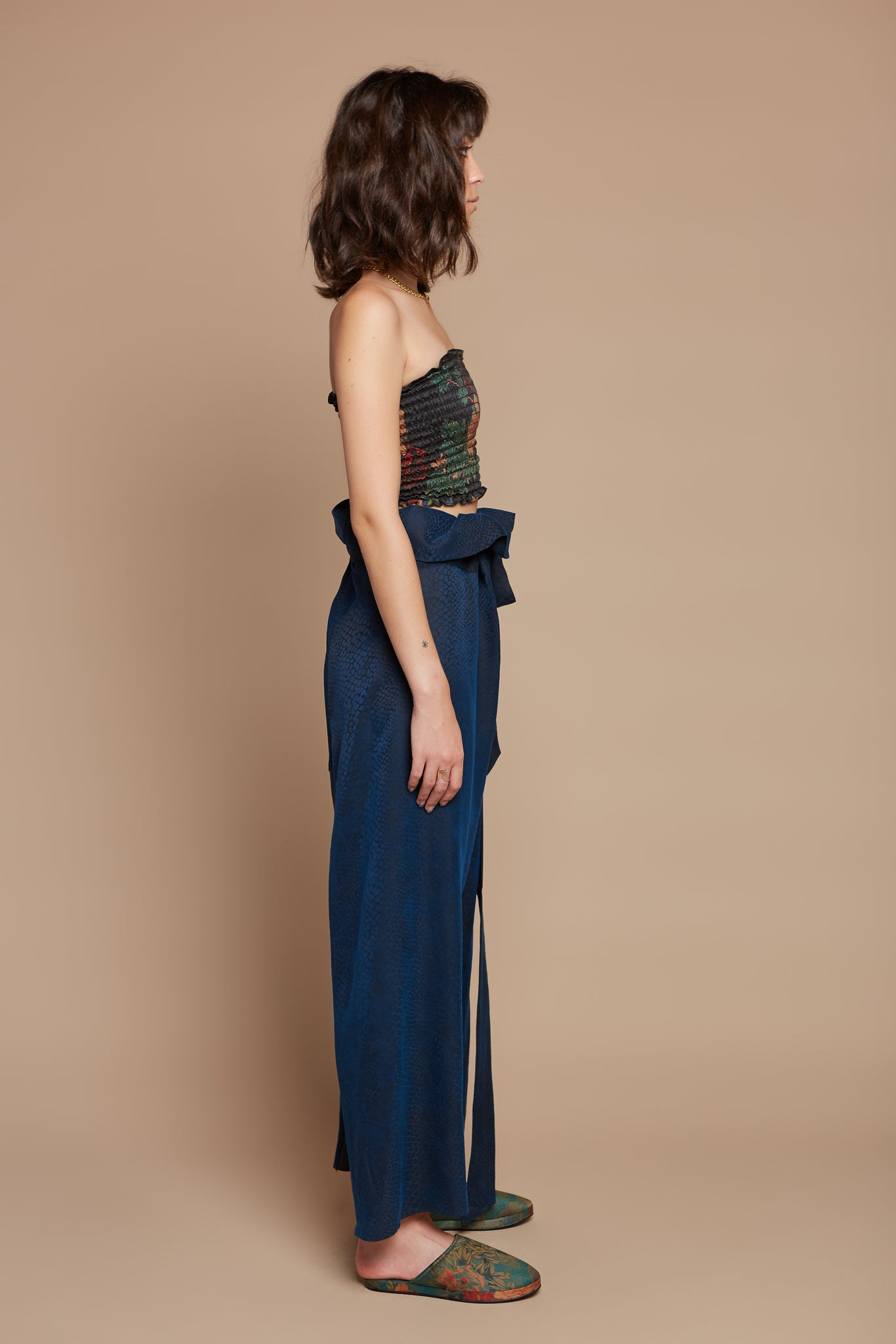 Deep Blue Snake Traditional Asian Pant