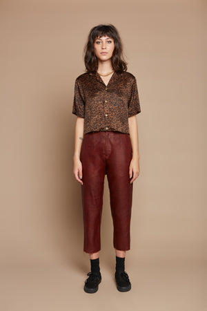 Leopard Cropped Camp Collar Shirt