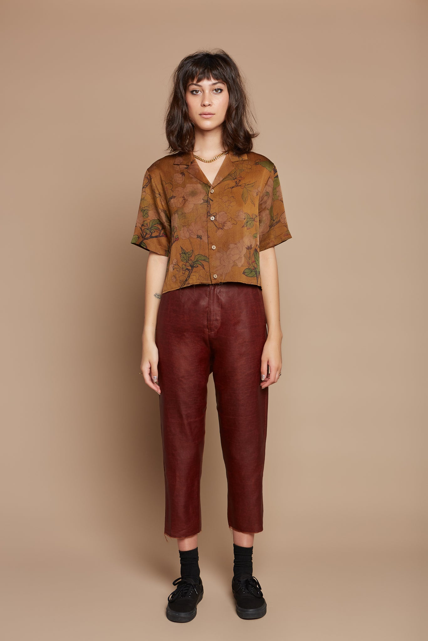 Marigold Cropped Camp Collar Shirt