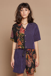Floral Bouquet Half + Half Cropped Camp Collar