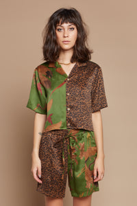 Verdant Crane and Leopard Half + Half Cropped Camp Collar