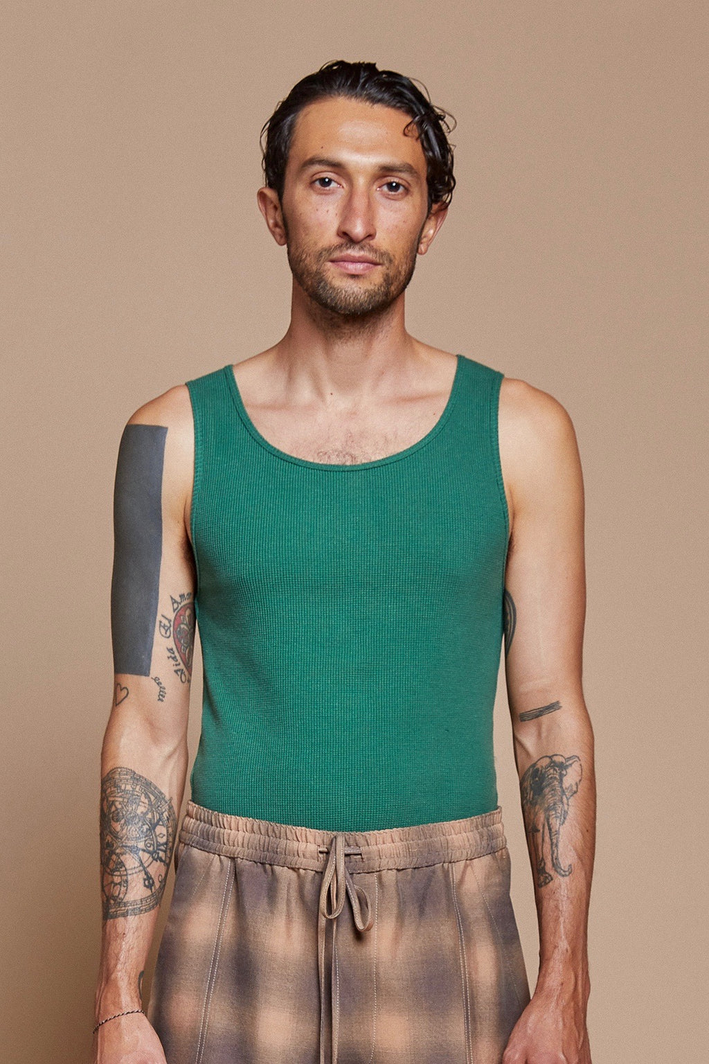 Green Organic Hemp/Cotton Waffle Undershirt