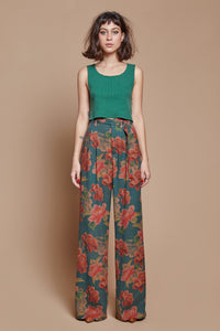 Midnight Peony Belted Trouser