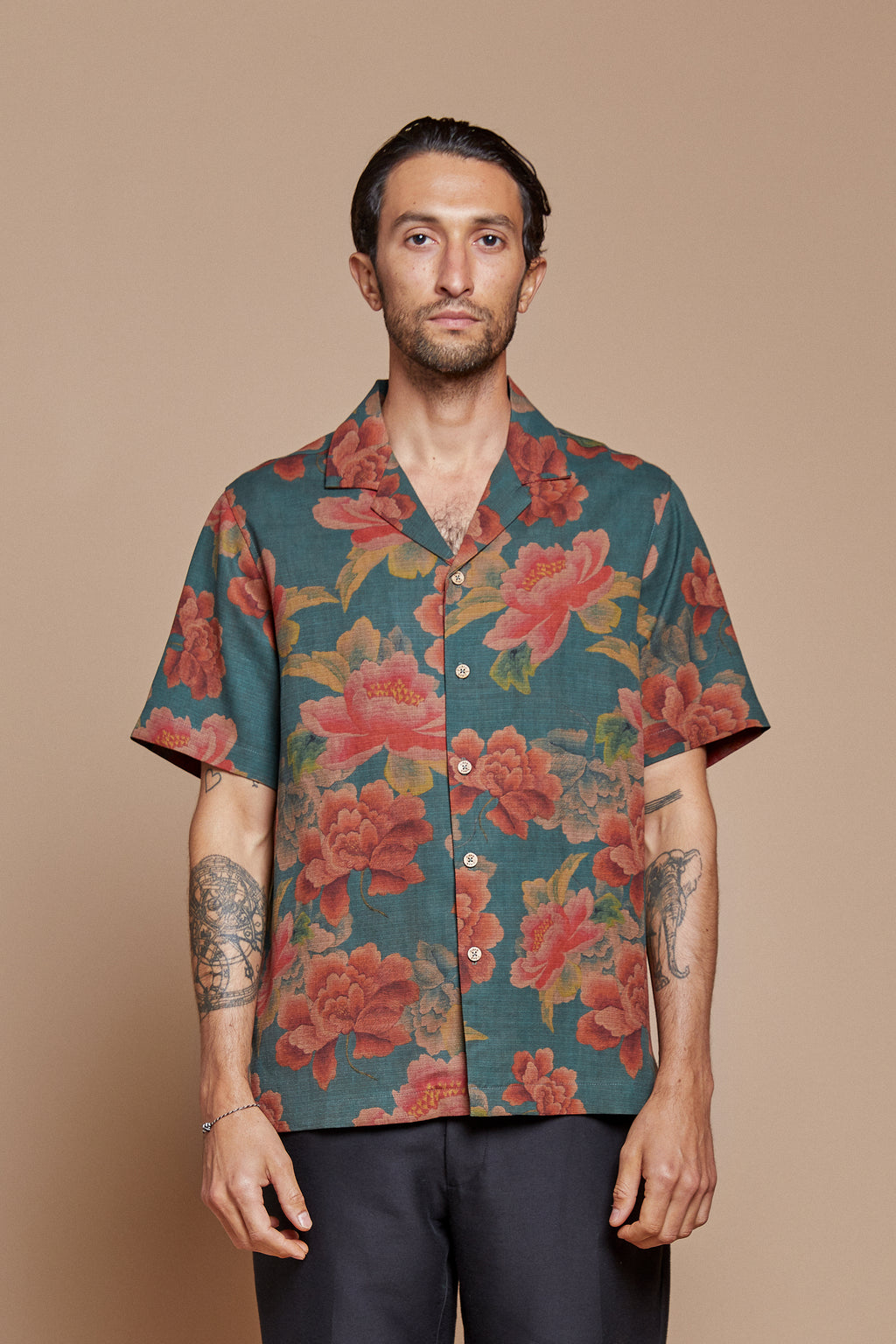 Midnight Peony Camp Collar Shirt