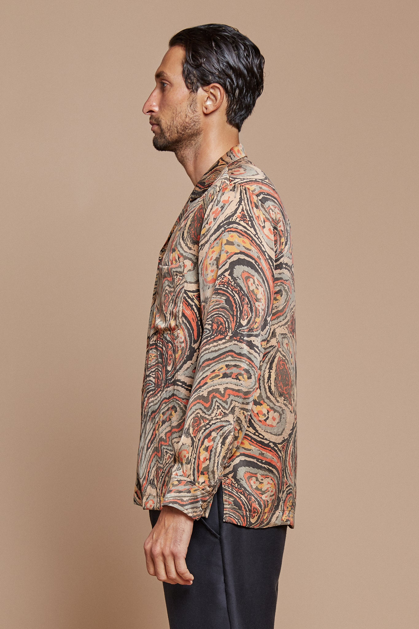 Paisley Long Sleeve Camp Collar