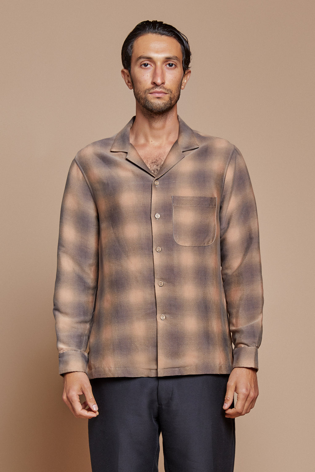 Shadow Plaid Long Sleeve Camp Collar