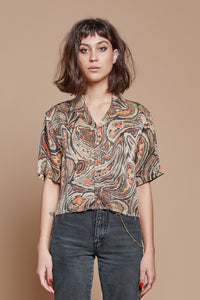 Paisley Cropped Camp Collar Shirt