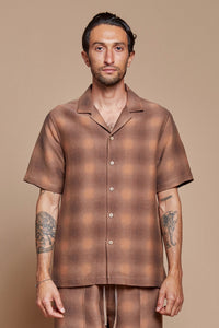 Shadow Plaid Camp Collar Shirt