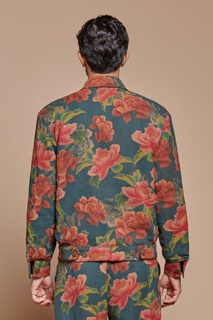 Midnight Peony Reversible Mechanic Jacket