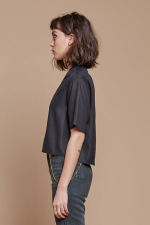 Black Night Cropped Camp Collar Shirt