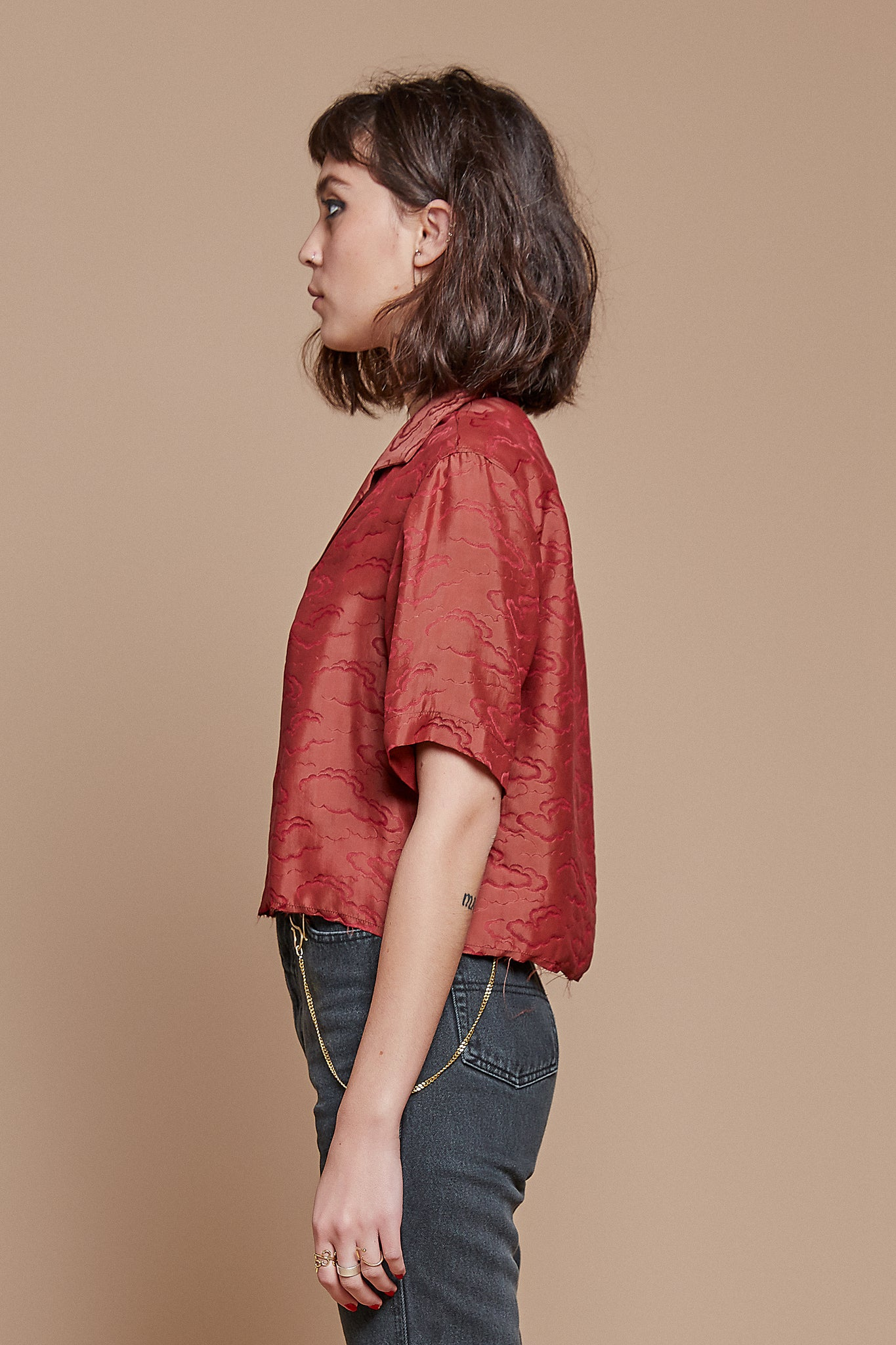 Red Clouds Cropped Camp Collar Shirt